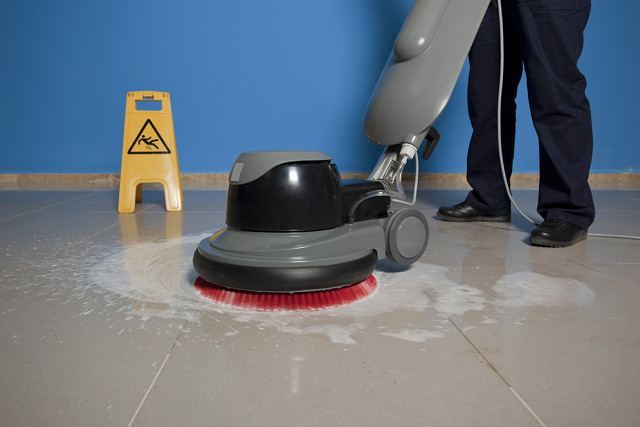 A buffing machine: one of many useful allies in floor cleaning.